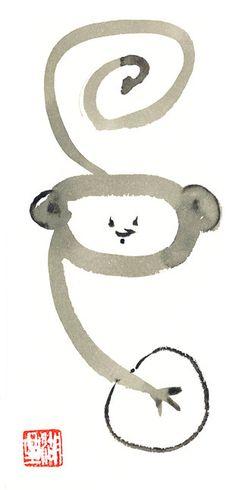 °Monkey ~ Chinese Zodiac Year of the Monkey Original Sumi by ZenBrush