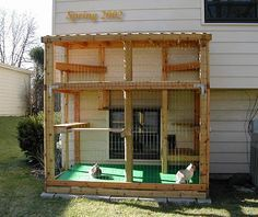Outdoor Cat Enclosure. This is what every owner needs that allows their cats outside. This is much safer! This way they still get fresh air, but can't roam free to impregnate strays, pick up Illness' and or get hit by a car!