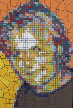 portret van keramisch mozaiek naar foto in opdracht  67 x 45 cm