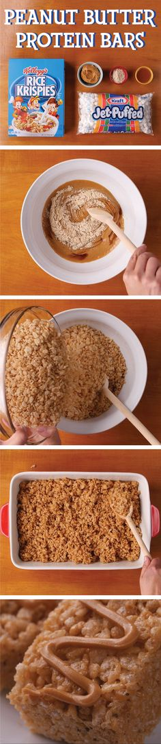 Power your day like a pro with delicious and dairy-free Rice Krispies® Peanut Butter Protein treats. For more nobake #TreatsInASnap, visit RiceKrispies.com. Ingredients: - 8 cups Kellogg's® Rice Krispies® cereal - 1 cup JET-PUFFED Marshmallows - 1/2 cup brown rice syrup - 2/3 cup creamy peanut butter - 1 tsp vanilla extract - 2 tbsp vanilla protein powder