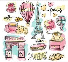 Set of paris elements in watercolors Free Vector Illustration Paris, Watercolor Illustration, Paris Party, Paris Theme, Paris Clipart, Mini Album Scrapbook, Doodles, Travel Drawing, Thinking Day