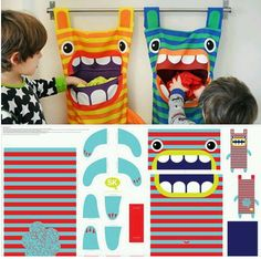 Hungry Monster Laundry Bags Ever wonder where those socks go? Well the hungry monster laundry bag eats them! Try this fun DIY craft, make a kid a laundry bag so they always keep tidy and clean. 40 Diy Gifts, Diy Gifts For Kids, Diy For Kids, Kids Room Accessories, School Accessories, Baby Sewing Projects, Sewing Crafts, Nursery Bag, Baby Embroidery
