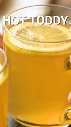 Hot Toddy - Have a sore throat or cough? Soothe it with a classic Hot Toddy! The perfect combination for whiske - Lemon Water Benefits, Lemon Health Benefits, Warm Lemon Water, Drinking Lemon Water, Lemon And Honey Water, Hot Buttered Rum, Sore Throat And Cough, Drink For Sore Throat, Sore Throat Remedies For Adults