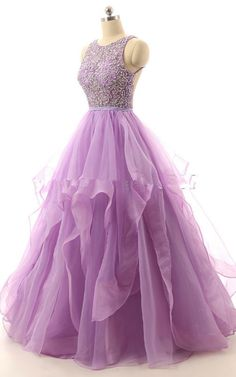 Lavende Beading Sleeveless Ball Gown Organza Floor Length Long Prom Dress
