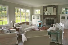 August Fields: family room  Love the color on the walls. Benjamin Moore Vapor trails #1556