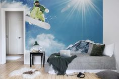 Find the perfect nature wall mural for your project in our wide selection of nature wall mural designs. Free worldwide delivery and wallpaper paste in Wall Murals, Wall Art, Wallpaper Paste, Snowboarding, Kids Room, Rebel, Tapestry, Art Prints, Walls
