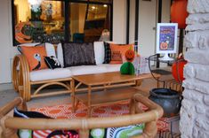 DIY Halloween stenciled throw pillows.