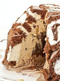 Mississippi Mud Swiss Roll Ice Cream Cake.
