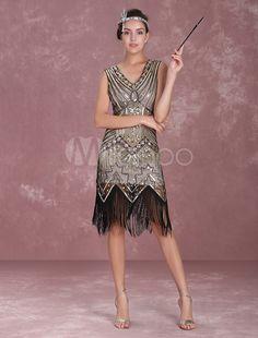 6f9d14e1c32 Great Gatsby 2019 Garçonne Robe 1920S Rétro Costume Femme Abricote Perlée  Frange Robe Toussaint