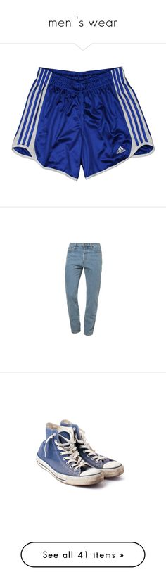"""""""men 's wear"""" by marsmolly ❤ liked on Polyvore featuring shorts, bottoms, short, pants, adidas, jeans, trousers, american apparel, shoes and sneakers"""