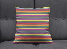 Striped cushion Rainbow home decor Striped throw pillows Striped Cushions, Blue Pillows, Throw Pillows, Contemporary Cushions, Bright Decor, Pillow Inspiration, Bath Decor, Handmade Home Decor, Stripes Design