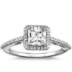 Princess Cut Halo Diamond Engagement Ring in Platinum