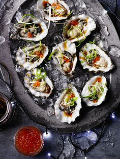 Make these oysters with ginger Japanese dressing recipe. These oysters are a great date night recipe for a Valentine's Day dish. Try this oyster recipe Seafood Dishes, Fish And Seafood, Seafood Recipes, Cooking Recipes, Seafood Platter, Shellfish Recipes, Oyster Recipes, Asian Recipes, Healthy Recipes