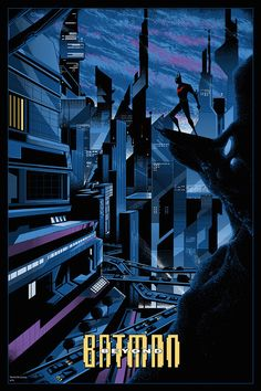 """Screen printed poster for Mondo's """"75 Years of Batman"""" show that opens tonight at their gallery in Austin. I got to do this one for the animated series Batman Beyond."""