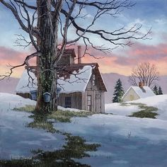 """""""Evening Sugarhouse"""" By Vermont artist Fred Swan. Giclee framed by Village Frame Shoppe Gallery in St. Swan Painting, Painting Snow, Winter Painting, Winter Art, Watercolor Landscape, Landscape Art, Landscape Paintings, Watercolor Art, Pictures To Paint"""