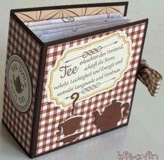 Eine kleine, feine Verpackung für 6 Teebeutel.                         Textstempel: Bettys Creations  Rahmenstempel: Waltzing Mouse  kleine...