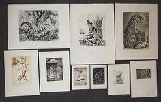 CASPAR WALTER RAUH, Kleine Auswahl von neun Blatt Graphik.
