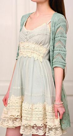 Mint and Pretty, but I kinda don't like the cardigan and the dress together