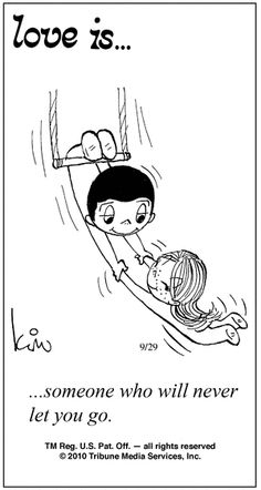 Never letting go of the right one... comic strip by Kim Grove Casali
