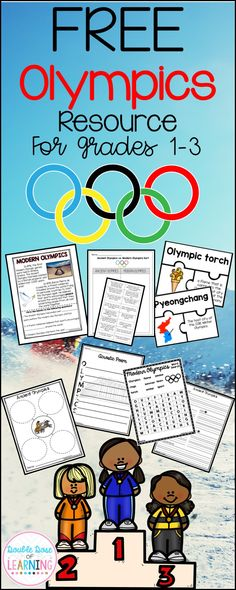 Free 2018 Winter Olympics resource for grades 1-3. These pages are samples of the full units from Modern Olympics, Ancient Olympics and 2018 Pyeongchang, South Korea Research Unit!