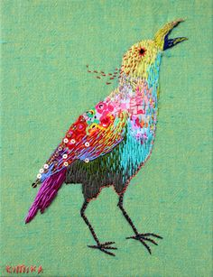 Other people make beautiful birds too. I might have to embroider a bird. 20 Whimsical Embroidered Animals By Kimika Hara
