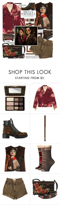 """""""Vintage and country style clash,its fashion performance slapdash!"""" by jelena-bozovic-1 ❤ liked on Polyvore featuring Too Faced Cosmetics, Gucci, Balmain, NYX, Prada, Smartwool, American Apparel, vintage, country and MyFaveTshirt"""