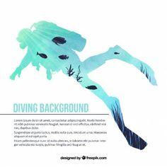 watercolor scuba diver silhouette background