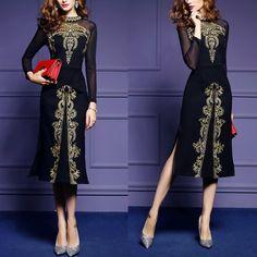 Embroidered Mesh Long-Sleeved Evening Dress – Arealook Long Sleeve Evening Dresses, Maxi Dress With Sleeves, Dress Brands, Mesh, Hottest Women, Women's Dresses, Indian Bridal, Art Sketches, Boho Fashion