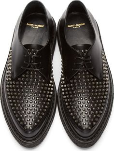 Saint Laurent: Black Leather Studded Creepers | SSENSE