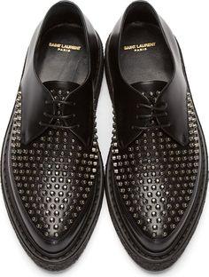 Saint Laurent: Black Leather Studded Creepers | SSENSE . . . . . der Blog für den Gentleman - www.thegentlemanclub.de/blog