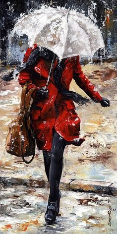 Rainy day by Emerico Toth  Woman of New York