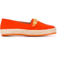 Moschino logo plaque espadrilles ($295) ❤ liked on Polyvore featuring shoes, sandals, orange, orange shoes, moschino sandals, espadrille sandals, slip-on shoes and leather espadrille sandals