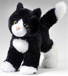 Black And White Cat Plush Stuffed Animal 8 Inch