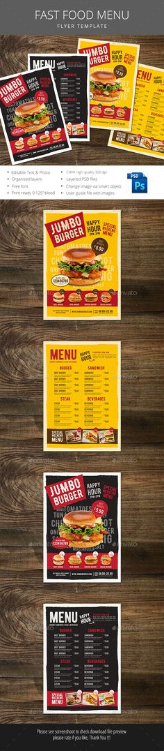 Fast Food Menu Template PSD. Download here: http://graphicriver.net/item/fast-food-menu/15992951?ref=ksioks