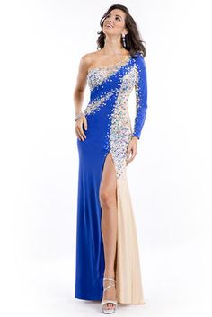 Party Time Prom - 6445  $478.00 One shouldered long sleeve gown with jewel detailing. Jeweled cut out on the side. Mid thigh slit. The fabric in this style is Jersey http://www.reflectionsbridalandprom.com/detail.php?ProdId=7455931&CatId=70514&resPos=50#subtitle