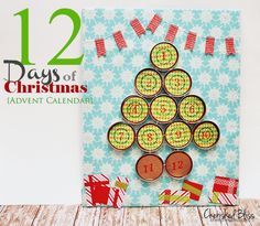 12 Days Of Christmas Advent Calendar using Mason Jar lids! // tutorial via cherishedbliss.com