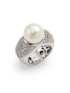 Giorgio Martello Faux White Pearl Ring