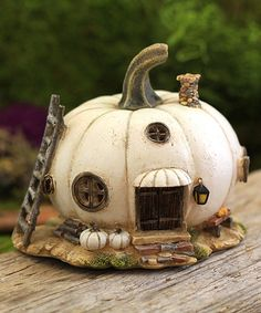 'White Pumpkin Fairy House' : fairy garden piece  {Top Collection}