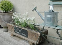 Vintage watering can and lovely flower/herb boxes Outdoor Fun, Outdoor Ideas, Outdoor Spaces, Outdoor Decor, French Bistro Chairs, Rustic Planters, Flower Planters, Country Furniture, Flower Boxes