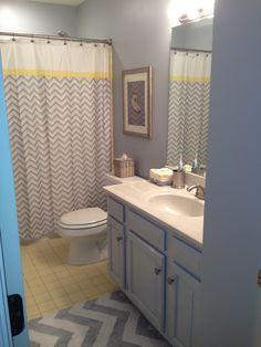 Yellow And Grey Bathroom Redo Cabinets Gray Decor Tiles