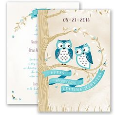Guess whooo's getting married? This trendy and cute two-sided wedding invitation will reveal the details. #davidsbridal #weddinginvitations #rusticweddings