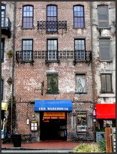 The Warehouse Restaurant, Savannah, Georgia. 18 E River St, Savannah, GA 31401. The Warehouse Bar & Grille in Historic Downtown Savannah Georgia. Serving The Coldest Cheapest Beer in Town! Live music and fresh, made to order, burgers. via Flickr
