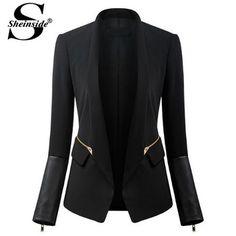 Sheinside 2014 marca nova novidade outono Regata feminina Casual Designer preto manga comprida bolsos Patchwork Zipper Blazer terno