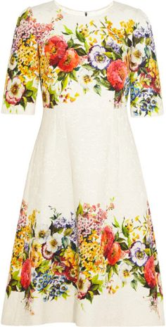 Dolce & Gabbana Floral-Brocade Dress in Floral (White)