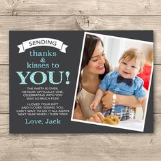 First birthday matching thank you card the big one diy printable boys first birthday thank you card digital file i customise for you to print blue polka dot design personalised with photo bookmarktalkfo