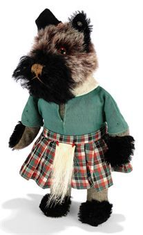 A STEIFF SCOTTY DOLL, (22), frosted brown and black mohair, brown and black glass eyes, brown stitching, swivel head, rigid grey brushed cotton body, black mohair hands and feet, Scottish costume and FF button, circa 1938 --8½in. (22cm.) high (slight fading)