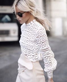 Blouse: white white lace lace blonde hair black sunglasses romantic office outfits long sleeves
