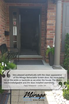 Homeowners are excited for their Mirage Retractable Screen Doors because they make life a little better. Find your local Mirage Dealer! Retractable Screen Door, Screen Doors, This Is Us, Garage Doors, Outdoor Decor, House, Life, Home, Homes