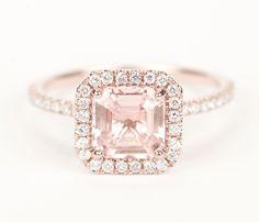 Certified Peach Pink Champagne Asscher Sapphire by SundariGems, $1,720.00