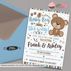 Little Bear Baby Shower invitation Blue and Brown by CutePartyDash